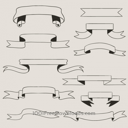 Free Vintage vector set of handdrawn ribbons