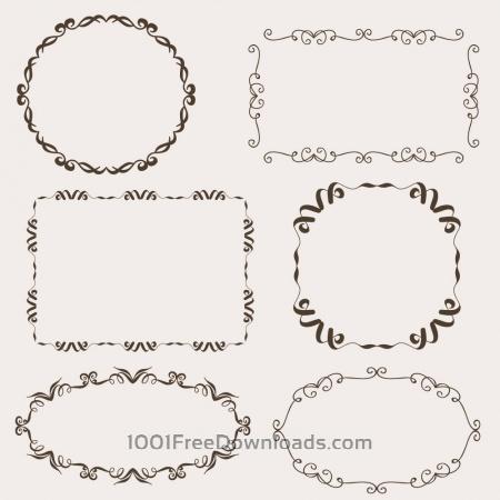Free Vintage vector set of ornamental frames