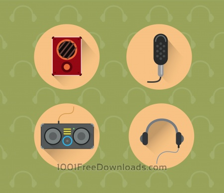Free Music objects for design. Vector illustration
