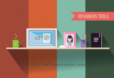 Free Designers table with tools. Vector illustration