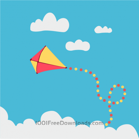 Free Children kite flying above the clouds