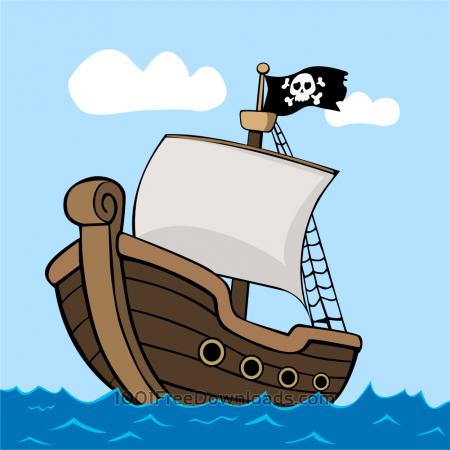 Free Pirate ship on sea