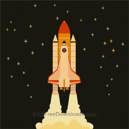 Free Space shuttle flying in space with stars on background
