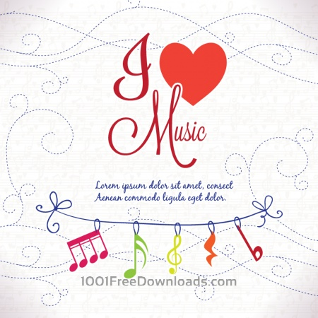 Free I Love Music Background