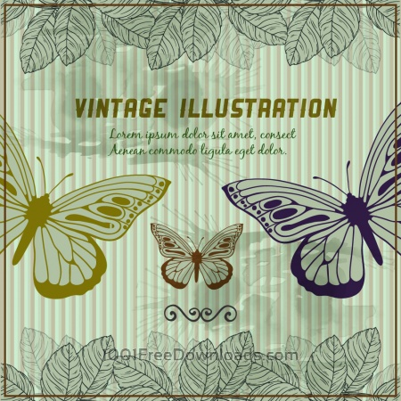Free Vintage background with butterflies