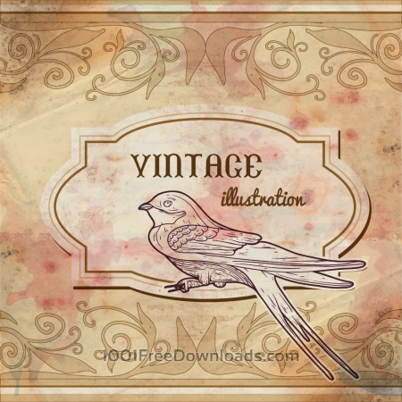 Free Vintage watercolor frame with swallow