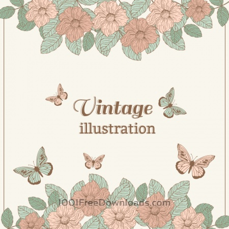 Free Vintage flower illustration with butterfly