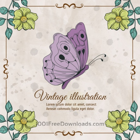 Free Vintage frame with  flowers and butterfly