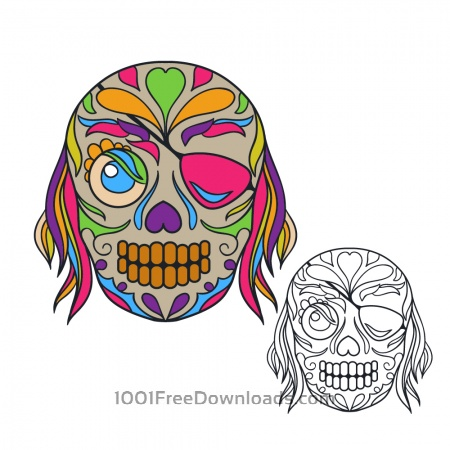 Free Pirate sugar skull vector illustration