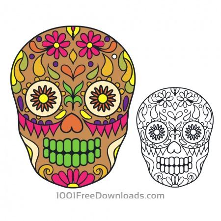 Free Vector sugar skull illustration
