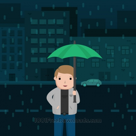 Free Man in the Rain with Umbrella