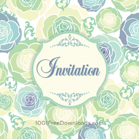 Free Invitation template with floral background