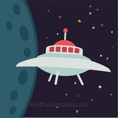 Free UFO in cartoon style