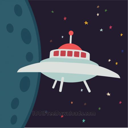 Free UFO in cartoon style