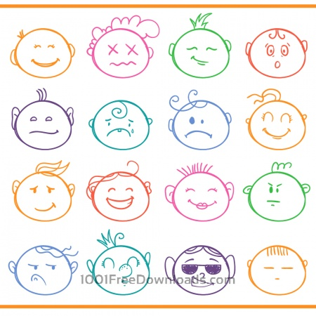 Free Face expressions vector set