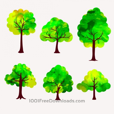 Free Watercolor trees vector set