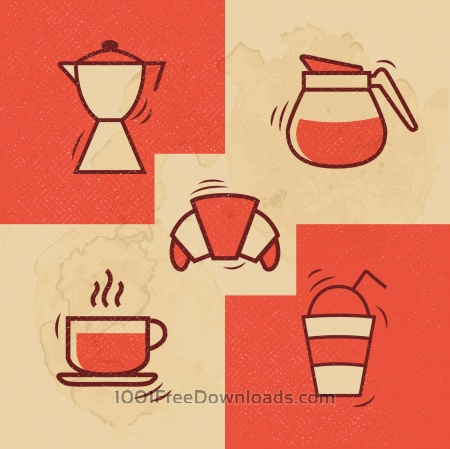 Free Vintage Coffee icons with Grunge Effect