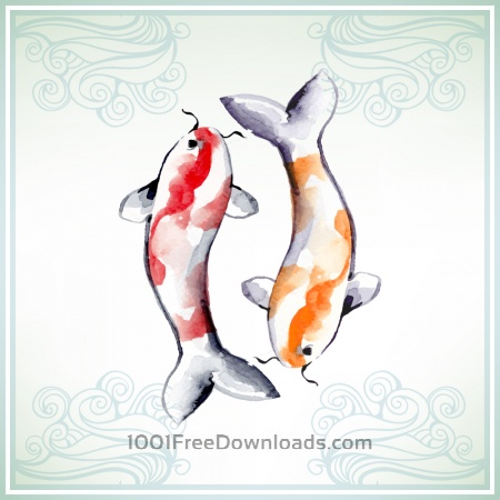 Free Illustration with watercolor koi fish
