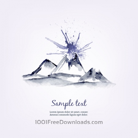 Free Watercolor illustration with mountains