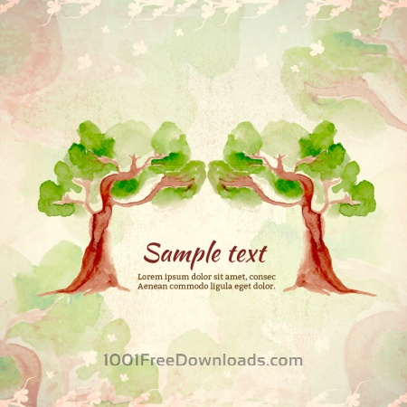 Free Watercolor illustration with trees