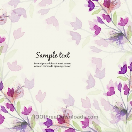 Free Watercolor illustration with flowers