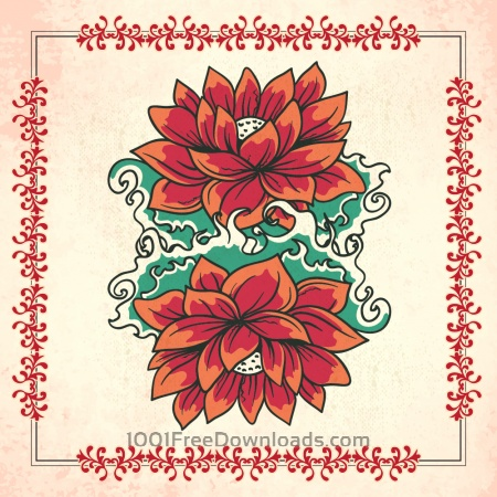 Free Vintage illustration with flowers and frame