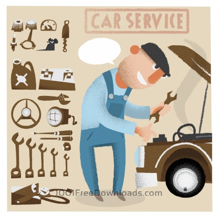 Free Car service man with tools. Vector illustration