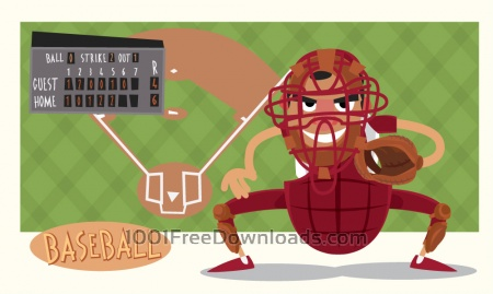 Free Baseball game characters and objects. Vector illustration