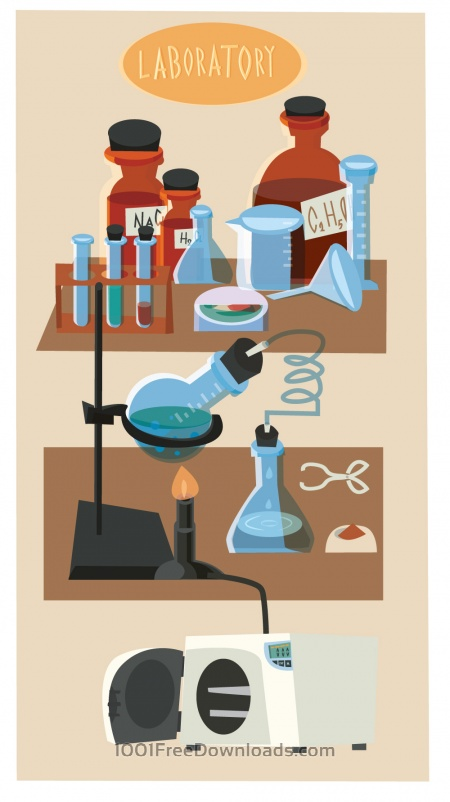 Free Chemical objects and tubes illustration vector