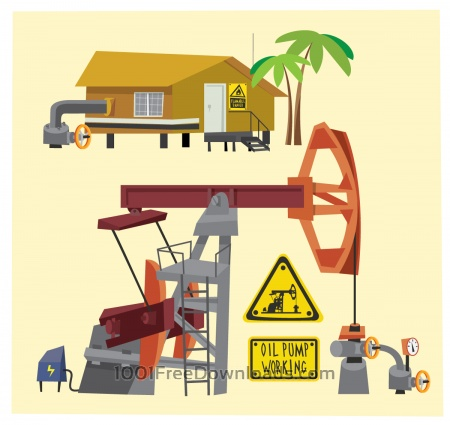 Free Oil objects landscape and equipment. Vector illustration