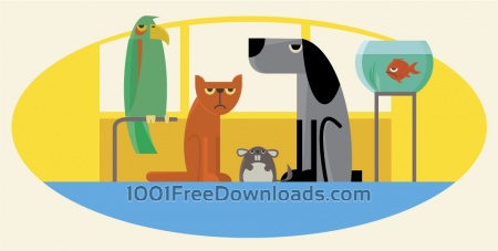 Free Characters farm pets vector illustration for design