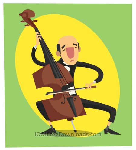 Free Music cartoon character vector illustration for design