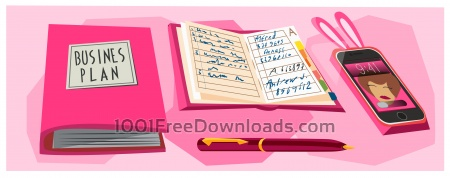 Free Business woman objects vector illustration for design
