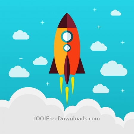 Free Flying rocket success diagram vector