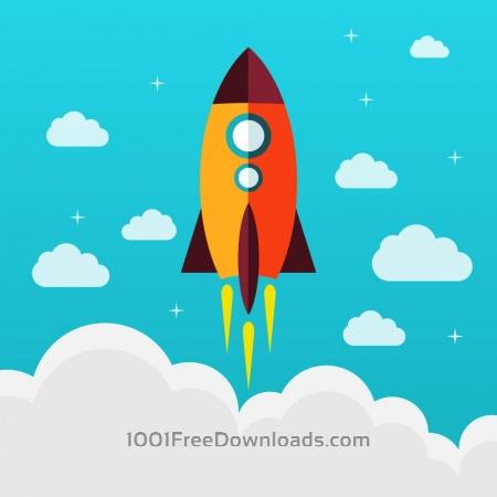 Free Flying rocket success diagram vector