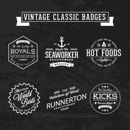Free Set of Vintage Badges