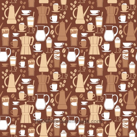Free Vector illustration of coffee design elements. Seamless pattern