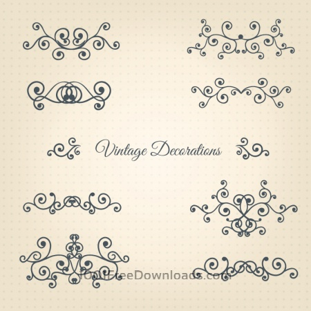 Free Vintage Vector Decorations Set