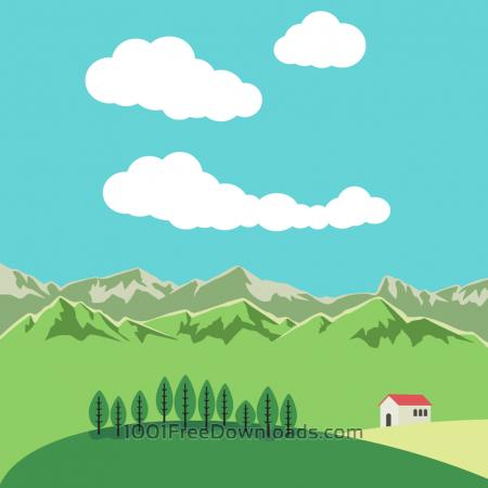 Free Vector illustration Mountain landscape