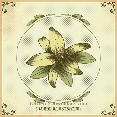 Free Vintage illustration with vintage flower