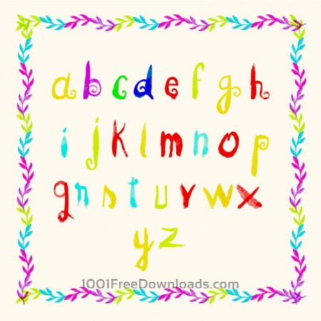 Free Watercolor frame and letters