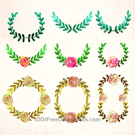 Free Watercolor vector frames and leaves