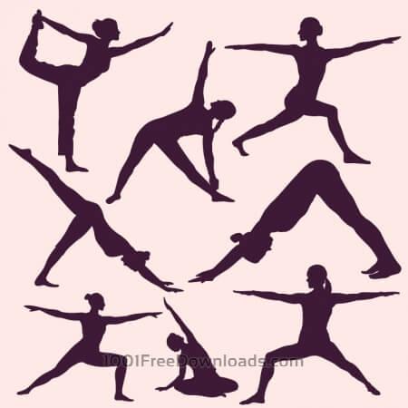 Free Yoga poses silhouettes