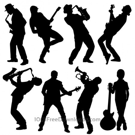 Free Silhouette of musician people