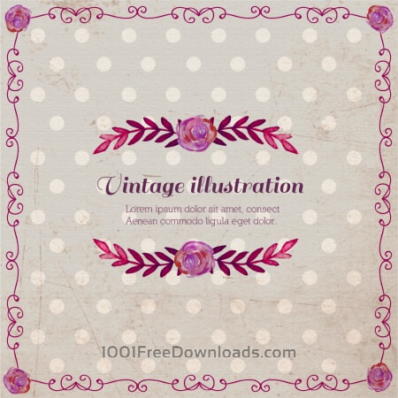 Free Vintage illustration with roses and frame