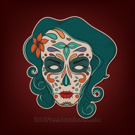 Day of the dead girl with flowers
