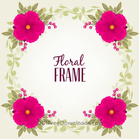 Free Vintage frame with flower and leaves