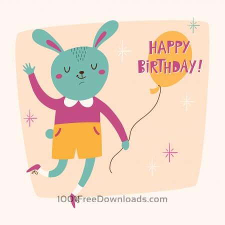 Free Happy Birthday card with cute bunny
