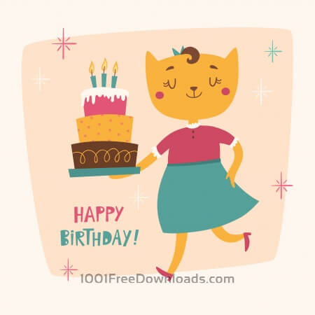 Free Happy Birthday card with cute cat