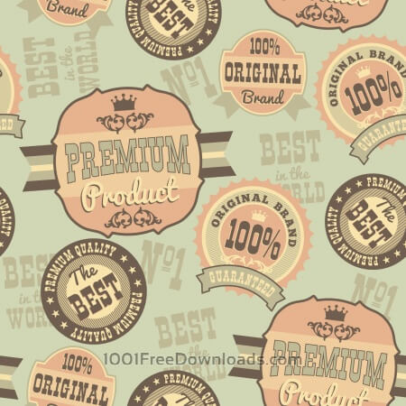 Free Seamless pattern with retro vintage badges